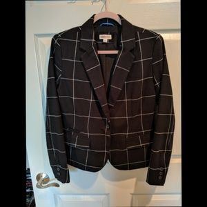 NWOT Merona Windowpain Plaid Warm Black Blazer